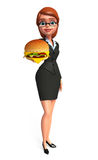 Young Business Woman with burger Stock Photos
