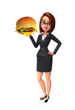 Young Business Woman with burger Royalty Free Stock Photography