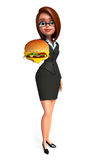 Young Business Woman with burger Royalty Free Stock Photos