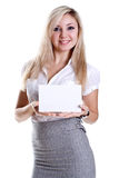 Young business woman with business card. On a white background Stock Photo