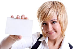 Young business woman with business card. On a white background Stock Images