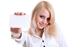 Young business woman with business card Royalty Free Stock Photography