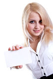 Young business woman with business card Stock Photography