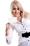 Young business woman with business card Royalty Free Stock Photo