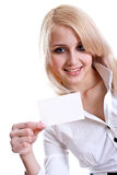 Young business woman with business card Stock Photo
