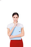 Young business woman in business clothes having a secret and making a hush gesture. Isolated Royalty Free Stock Images