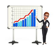 Young Business Woman with business graph Royalty Free Stock Images