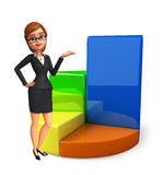 Young Business Woman with business graph Stock Image