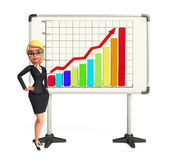 Young Business Woman with business graph Royalty Free Stock Image