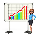 Young Business Woman with business graph Stock Images