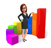 Young Business Woman with business graph Royalty Free Stock Photography