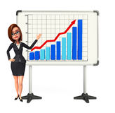 Young Business Woman with business graph Royalty Free Stock Photo