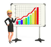 Young Business Woman with business graph Stock Photos