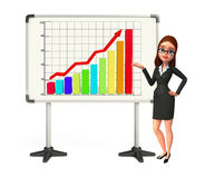 Young Business Woman with business graph Stock Photo