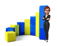 Young Business Woman with business graph Stock Photography