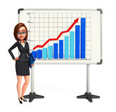 Young Business Woman with business graph Royalty Free Stock Photos