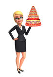 Young Business Woman with cake Stock Photos