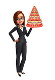 Young Business Woman with cake Royalty Free Stock Photo
