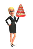 Young Business Woman with cake Royalty Free Stock Image