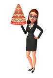 Young Business Woman with cake Stock Photo