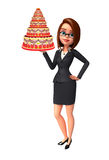 Young Business Woman with cake Royalty Free Stock Images