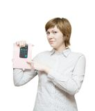 Young business woman with calculator Stock Photos