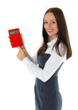 Young business woman with calculator. Stock Photo
