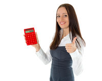 Young business woman with calculator. Stock Photography
