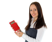Young business woman with calculator. Royalty Free Stock Photos
