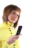 Young business woman calling. By mobile phone Royalty Free Stock Images