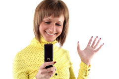 Young business woman calling. By mobile phone Stock Images