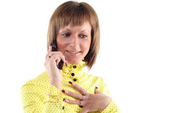 Young business woman calling. By mobile phone Stock Photo