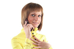 Young business woman calling. By mobile phone Royalty Free Stock Image