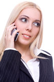 Young business woman calling. On a white background Royalty Free Stock Images