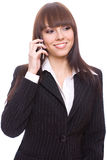 Young business woman calling. On a white background Stock Image