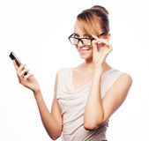 Young business woman calling by phone Stock Photography