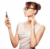 Young business woman calling by phone Royalty Free Stock Photography