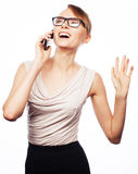Young business woman calling by phone Royalty Free Stock Photo