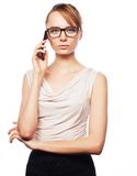 Young business woman calling by phone Royalty Free Stock Photos