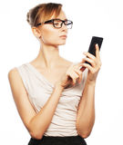 Young business woman calling by phone Stock Photo