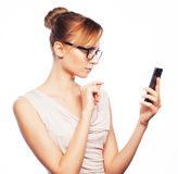 Young business woman calling by phone Stock Image