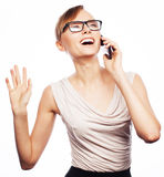 Young business woman calling by phone Royalty Free Stock Images