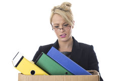 Young Business Woman Carrying a Box of Files Stock Images