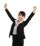 Young business woman celebrating success stock photo