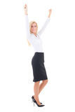 Young business woman celebrating success full length isolated on Stock Images