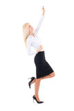 Young business woman celebrating success isolated on white Royalty Free Stock Images