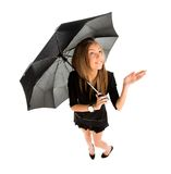 Young business woman checking if it's raining Royalty Free Stock Photo