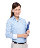 Young business woman with clip board Royalty Free Stock Photos