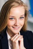 Young business woman on close-up portrait Royalty Free Stock Photo