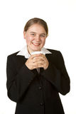 Young business woman with coffee Stock Image